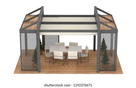 3D render of modern luxury garden pergola. With plants and furniture. Isolated on white background.