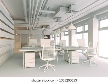 3d render of modern office interior