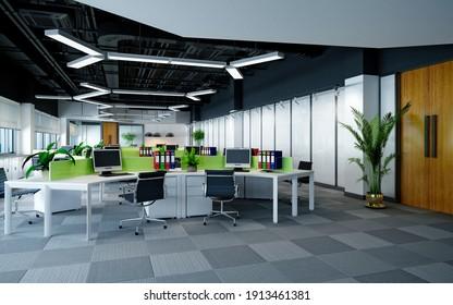 3d render of modern office, working room