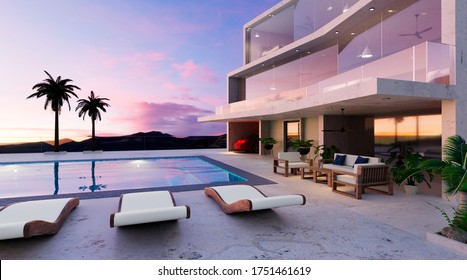 3D render of modern two story house with swimming pool. Twilight scene of building and furniture next to pool.