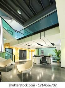 3d render of modern working room, office