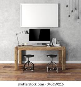 3d render of modern workplace setup