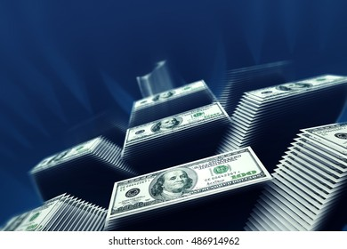 3D render of money arranged in pyramid-like stacks
