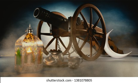 3D render of moon, blurred lantern and creative cannon on shiny foggy illuminated silhouette background. Iftar concept for Ramadan Mubarak Month.