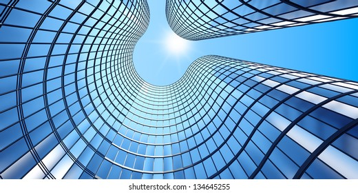 3D-Rendering der morgendlichen Sicht auf Glasbau