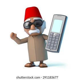 3d render of a Moroccan holding a cellphone