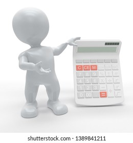 3D Render of Morph Man with Calculator