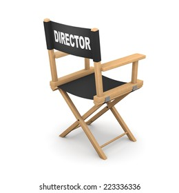 3d render of a movie directors chair from the back