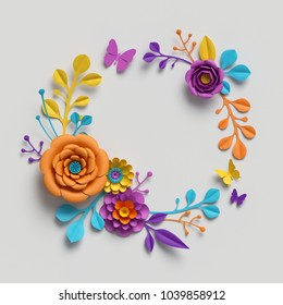 3d render, multicolor paper flowers, vivid color palette, botanical background, isolated clip art, round wreath, blank greeting card