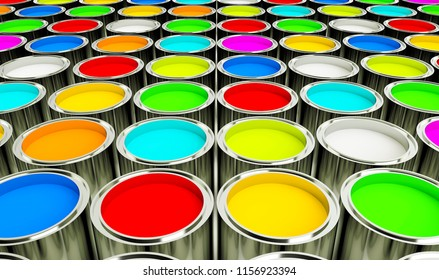 3d render multicolored open paint cans on a white background. 3d Rendering.