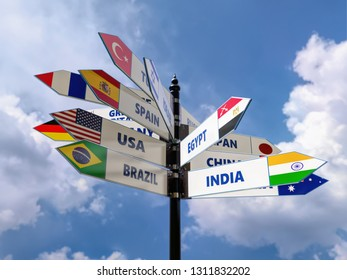 3D render of multidirectional roadsign with major states and their flags over the sky