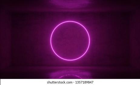 3d render of neon circle frame on background in the room. Banner design. Retrowave, synthwave, vaporwave illustration.