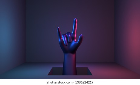 """3d render neon glossy """"I Love You"""" hand gesture sculpture."""