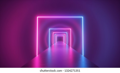 3d render, neon light abstract background, square shape portal, virtual reality, ultraviolet spectrum, laser show, fashion podium, stage, floor reflection