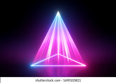 3d render, neon light abstract background, pink laser rays projecting triangular geometric shape on the stage floor. Bright projector