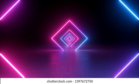 3d render, neon light, rhombus, virtual reality, square esoteric portal, tunnel, corridor, ultraviolet abstract background, laser show, fashion podium, path, way, stage, road, floor reflection