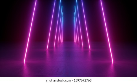 3d render, neon light rods, pink and blue vertical lines, tunnel in virtual reality, corridor, ultraviolet abstract background, laser show stage, fashion catwalk podium, road, way, floor reflection
