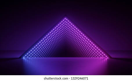 3d render, neon light triangle, ultraviolet abstract background, triangular esoteric portal, tunnel, corridor, virtual reality, laser show stage, fashion catwalk podium, road, way, floor reflection