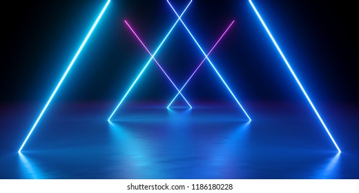 3d render, neon lights, abstract background, glowing lines, virtual reality, blue triangular arch, ultraviolet, infrared, spectrum vibrant colors, laser show