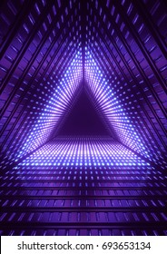 3d render, neon lights, blue triangle tunnel, abstract geometric background
