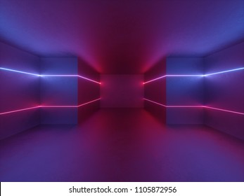 3d render, neon lights indoor, virtual reality, glowing lines, abstract psychedelic background, ultraviolet, vibrant colors