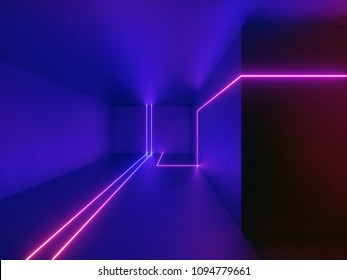3d render, neon lights, room, indoor, virtual reality, glowing lines, abstract psychedelic background, ultraviolet, vibrant colors