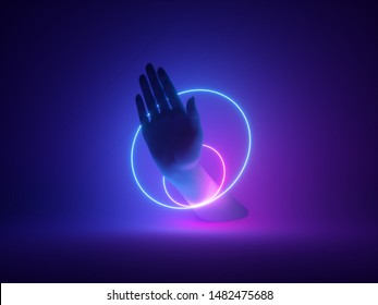 3d render, neon minimal background, mannequin hand with palm, spinning rings, glowing lines, mystical design, paranormal concept, magical show, magician performance