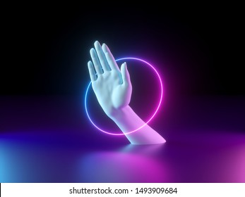3d render, neon minimal background, white mannequin hand palm inside ring, sacred geometry, glowing line, mystical design, paranormal concept, magical show, magician performance