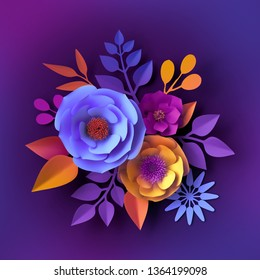 3d render, neon paper flowers, botanical background, floral holiday concept, colorful decorative wall design, bridal bouquet