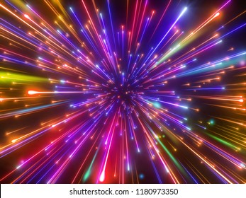 3d render, new year fireworks, abstract background, multicolor big bang, falling stars, galaxy, celestial, beauty of universe, speed of light, neon glow, ultraviolet infrared light, aurora borealis