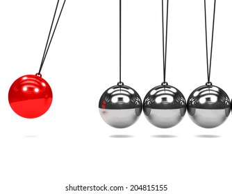 3d render of a Newtons Cradle with one red ball in motion