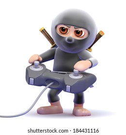 3d render of a ninja playing a videogame