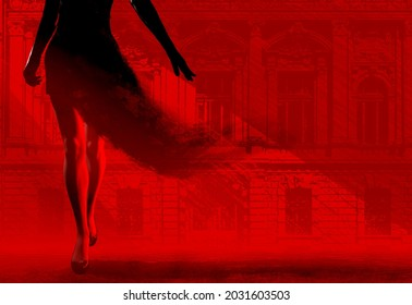3d render noir illustration of lady in black dissolving dress walking on red and black styled city street background.