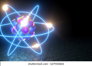 3D render nuclear fusion, there is a nuclear fission, pure energy. Copy space.