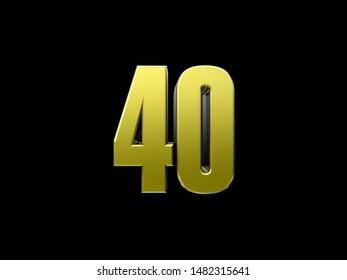 3D render of number forty (40)