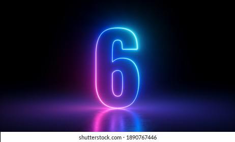 3d render, number six glowing in the dark, pink blue neon light