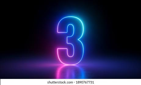 3D-Rendering, Nummer drei im Dunkeln leuchtend, rosa blauer Neonlicht