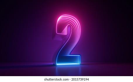3d render, number two, digital symbol, pink blue gradient neon light glowing in the dark