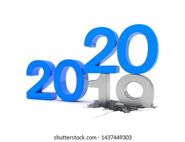 3d render of the numbers 2019 and 20 in blue over white background. The number 20 falls on the number 19 and breaks in it in the ground.