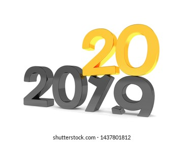 3d render of the numbers 2019 and 20 in black and gold over white background. The number 20 falls on the number 19 and breaks in it in the ground.