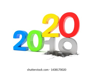 3d render of the numbers 2019 and 20 in colorful over white background. The number 20 falls on the number 19 and breaks in it in the ground.