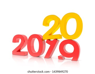 3d render of the numbers 2019 and 20 in red and gold over white background. The number 20 falls on the number 19 and breaks in it in the ground.