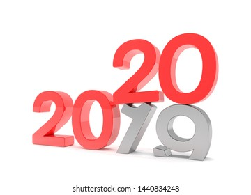 3d render of the numbers 2019 and 20 in red over white background. The number 20 falls on the number 19 and breaks in it in the ground.