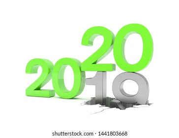 3d render of the numbers 2019 and 20 in green over white background. The number 20 falls on the number 19 and breaks in it in the ground.