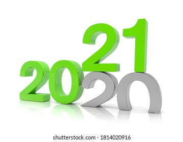 3d render of the numbers 2020 and 21 in green over white background. The number 21 falls on the number 20 and breaks in it in the ground