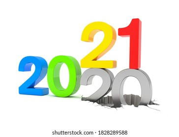 3d render of the numbers 2020 and 21 in colorful over white background. The number 21 falls on the number 20 and breaks in it in the ground