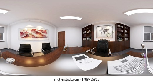 3D Render - Director's Office Design - Panoramic View