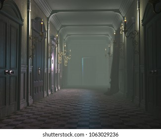 3d render of an old dark misty hallway lit with candles
