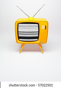 3D render of a old fashioned TV set on white