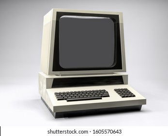 3d render of old retro computer station with monitor over white background
